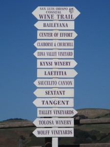 Signpost on San Luis Obispo Wine Trail