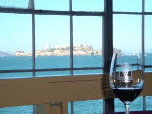 Alcatraz, as seen from the Family Winemakers of California Tasting in San Francisco