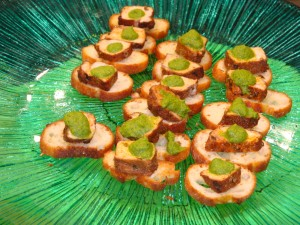 Chili Roasted Pork Crostini