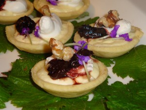 Reconstituted Cherries on Whipped Goat Cheese Tart