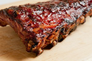 BBQ pork back ribs with sauce