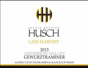 Husch 2013 Late Harvest Gewurztraminer Label
