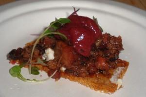 Plum Wood Smoked Pork Shoulder with Rhubarb/Blueberry Chutney
