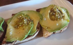Avocado with Toasted Pistachios on Grilled Bread