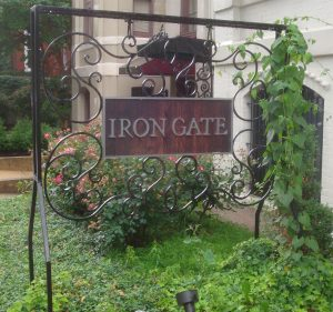 Iron Gate Restaurant and WIne Bar, and our favorite Washington DC Wine Bar sign