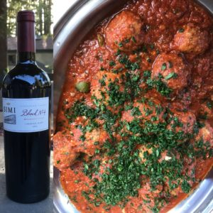 SIMI Cabernet Franc and Meatballs Puttanesca