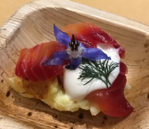 Beet-Cured Salmon on Potato Waffles